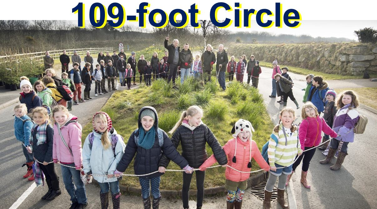 Children at The Eden Project form a 109 foot circle - the diameter of the Fieldbrook Stump,